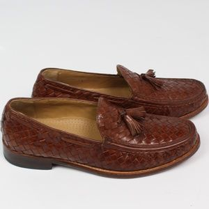 Cole Haan brown leather basket weave tassel loafer